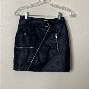 Black Leather FN Skirt